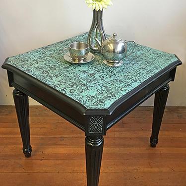 Black & Bronze Patina Side Table
