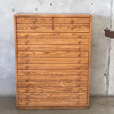 Vintage Oak Five Drawer Dresser by Thomasville