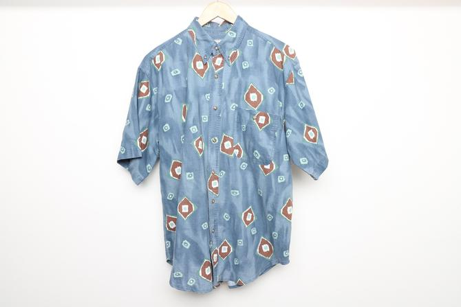 vintage 1990s versace SURF style short sleeve BLUE all over print oversize shirt -- size large by CairoVintage