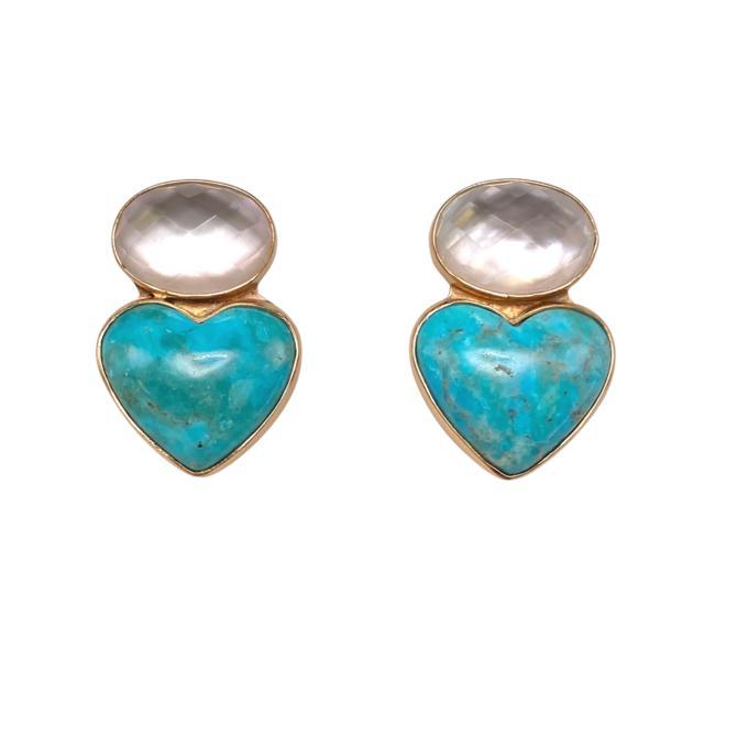 Turquoise Heart Doublet Ear