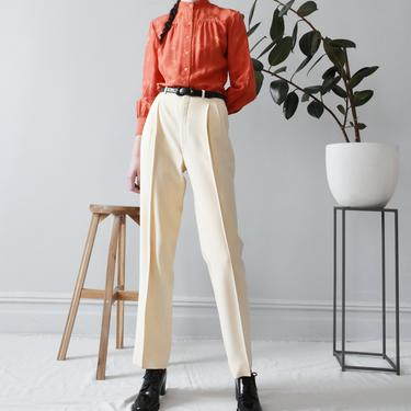 vintage cream wool trousers, 80s high waisted pants, size XS / S by ImprovGoods