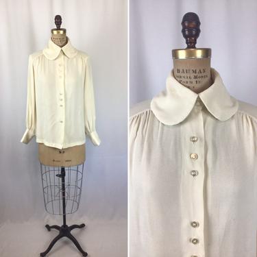 Vintage 40s blouse   Vintage ivory crepe top   1940s bishop sleeve shirt by BeeandMason