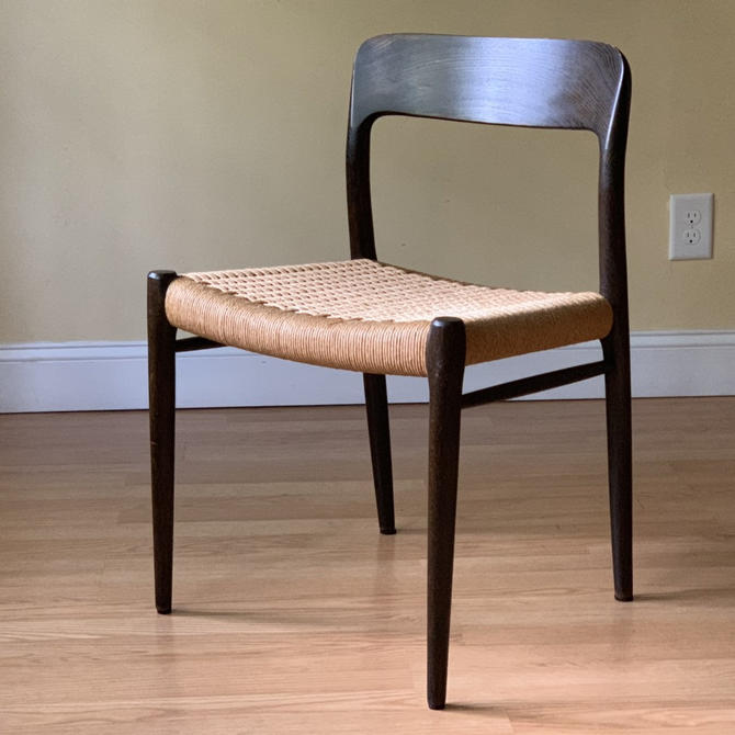 One Niels Moller model # 75 dining chair in stained oak and Danish Paper Cord, desk chair, bedroom chair by ASISisNOTgoodENOUGH