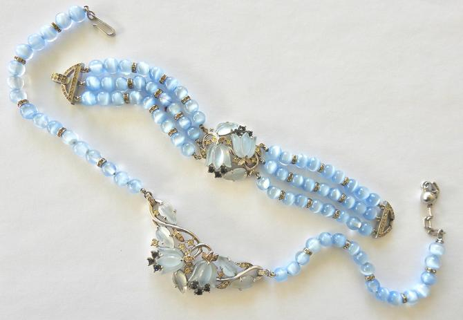 Mid Century Moonstone Glass Tulip,Bead and Rhinestone Necklace and Bracelet by LegendaryBeast
