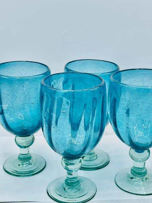 """Set 4 Vintage Teal Hand Blown Glass Water Wine 6-7/8"""" Goblet Trapped Air Bubbles by JoAnntiques"""