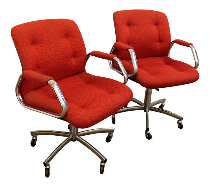 pair of mid century danish modern red chrome steelcase office chairs