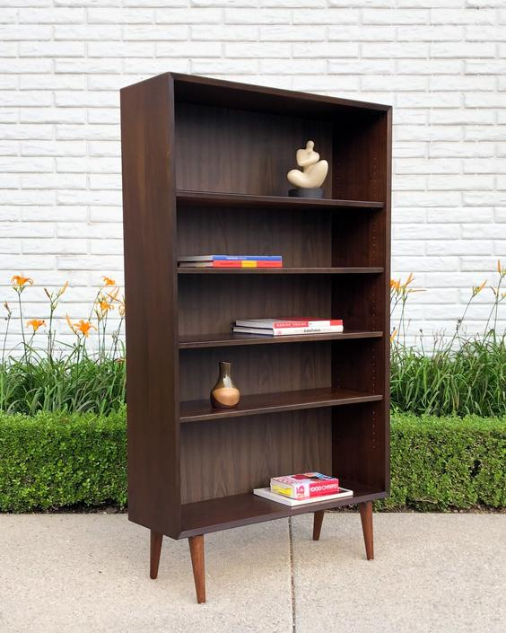 A pair of Mid-Century Modern Walnut Bookcases by VintageSupplyLA