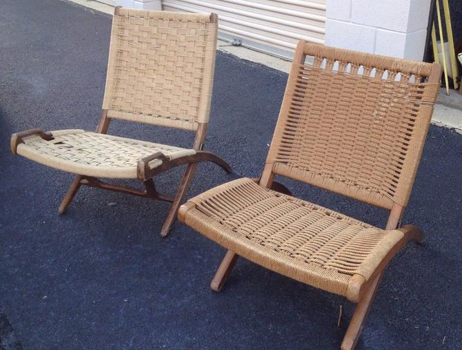 Astounding Hans Wegner Style Woven Rope Chairs Mid Century Danish Modern Folding Loungers Ocoug Best Dining Table And Chair Ideas Images Ocougorg