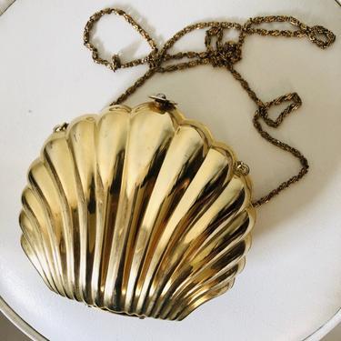 1970s Golden Seashell Clam Handbag