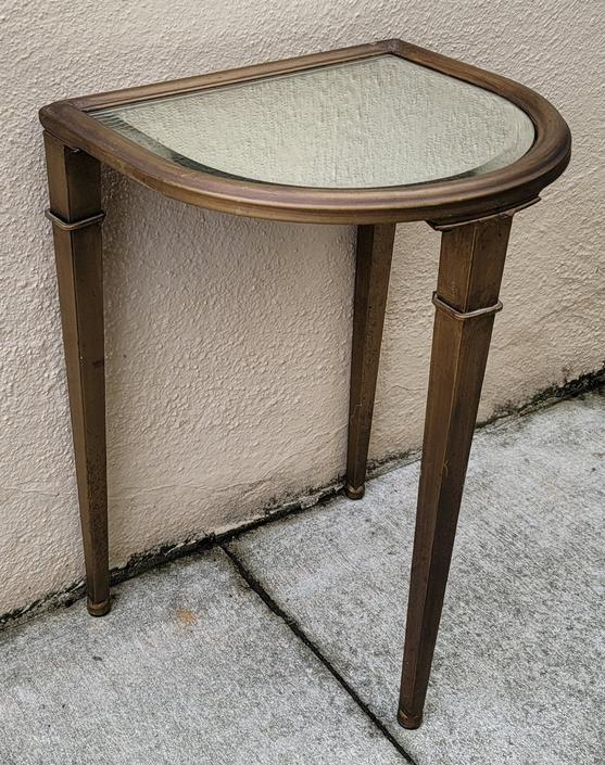 Vintage Postmodern Petite Demilune Bronzed Finish Glass Topped Metal Side Table