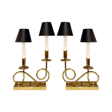Pair of Elegant Brass Lamps in the Manner of Tommi Parzinger 1950s - SOLD