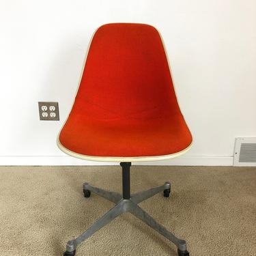 Herman Miller Eames upholstered side shell chair office contract base rolling adjustable height mid century by TripodModern