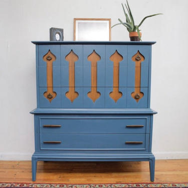 Mid Century Modern Painted Dresser, Moroccan Inspired Blue Teal Modern Dresser, MCM Highboy Dresser, Chest of Drawers, Free NYC Delivery by AntiqueBoutiqueNYC