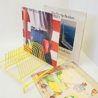"33"" Vinyl Record Rack Mail File Holder Letter Sorter Yellow Wire Metal Storage Decor Music Album Mid Century Modern Office Desk Organizer by MakingMidCenturyMod"