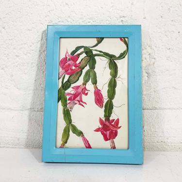True Vintage Framed Christmas Cactus Print Schlumbergera Blue Frame Lithograph Litho Book Plate Flowers Green Tree Gallery by CheckEngineVintage