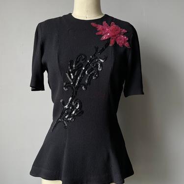 1940s Blouse Black Rayon Sequin Top S by dejavintageboutique