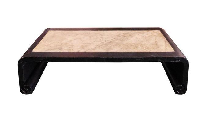 Chinese Black Scroll Legs Rectangular Marble Coffee Table cs1331S by GoldenLotusAntiques