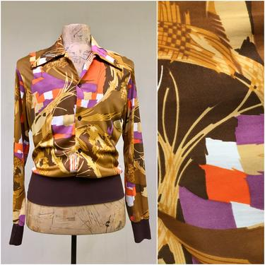 """Vintage 1970s Mens Abstract Print Disco Shirt, 70s Earthtone Nylon Roller Boogie Elasticized Shirt, Large 42"""" Chest by RanchQueenVintage"""