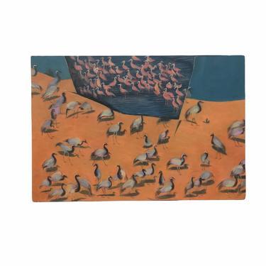 Vintage Original Hand-painted Mid Century Modern Painting Pink Flamingo Black White Flamingo Lake Sand Blue Sky retro boho by BigWhaleConsignment