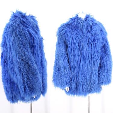 80s blue TIBETAN LAMB shaggy fur coat L / vintage 1980s wild colored  Mongolian fun fur jacket muppet coat large by ritualvintage