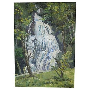 Vintage Waterfall Landscape, Original Art, Oil on Canvas, Vintage Art by BostonVintageStudio