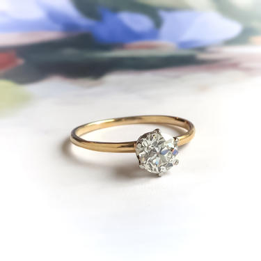 Antique Tiffany & Co .58ct Old European Cut Diamond Solitaire Wedding Anniversary Ring 18k Yellow Gold Platinum by YourJewelryFinder