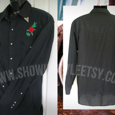 Vintage Retro Western Men's Cowboy Shirt by High Noon, Rockabilly Rodeo Shirt, Embroidered Red Roses, Size XLarge (see meas. photo) by ShowinStyle