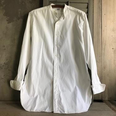 Antique Mens Formal White Dress Shirt, French Cuff, Hallmark Greenbriar, Original Tag, Edwardian Formal Wear, Period Clothing by JansVintageStuff