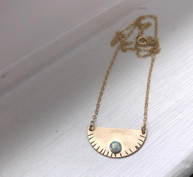 Half Circle Opal Hammered Pendant in 14k gold-fill by RachelPfefferDesigns