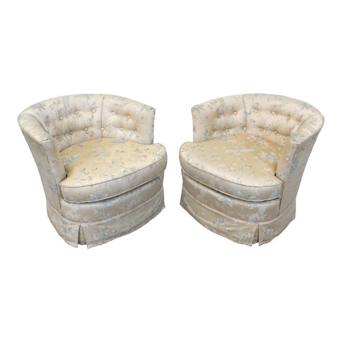 Pair of Vintage Mid-Century Barrel-Back Swivel Lounge Chairs by AnnexMarketplace