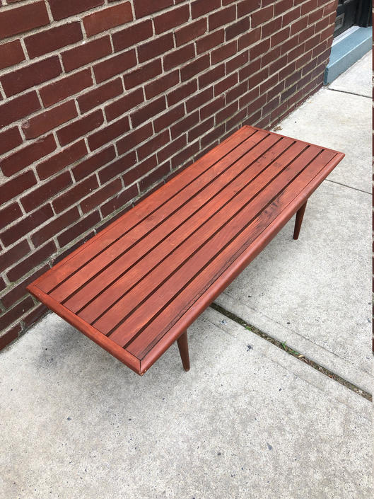 Mid Century Modern Slat Bench / Coffee Table by bcdrygoods
