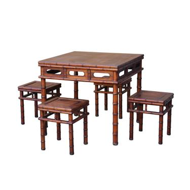 Chinese Brown Huali Rosewood Square Table Chair 5 Pieces Set cs4636E by GoldenLotusAntiques