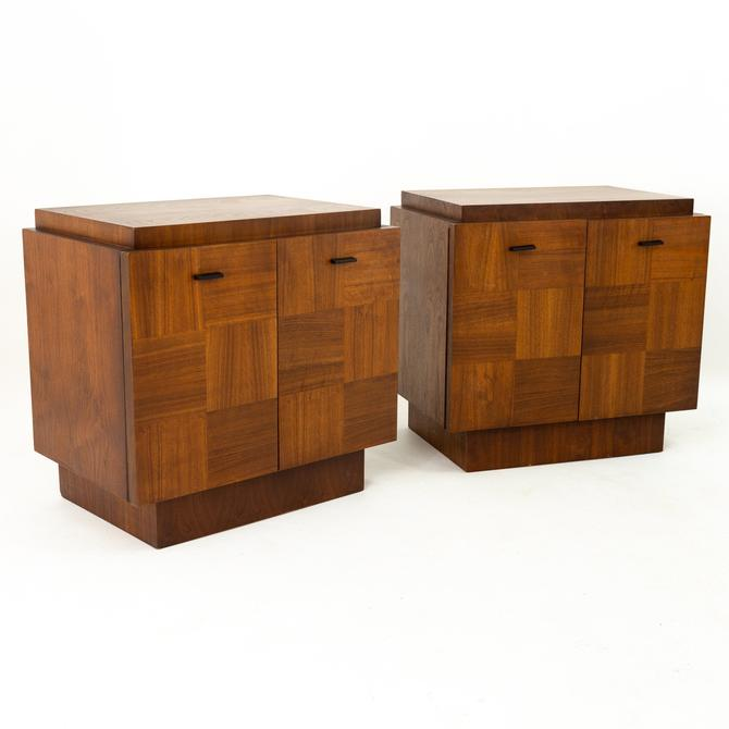 Lane Brutalist Mid Century 2 Door Walnut Nightstands - Pair by ModernHill