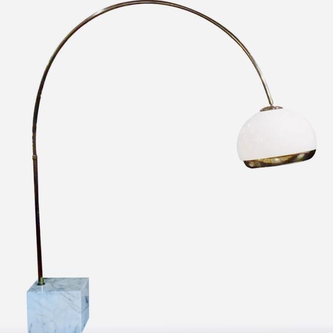 Mushroom Arc Lamp w/ Marble Base by Harvey Guzzini