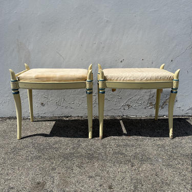2 Stools Bench Bed Benches Pair of Ottoman Country French Provincial Seating Ottomans Chair Hassock Footstool Boho Hollywood Regency Chic by DejaVuDecors
