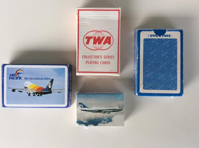 Set of 4 Vintage Airline Playing Cards from TWA, Pan Am, Lufthansa by nauhaus