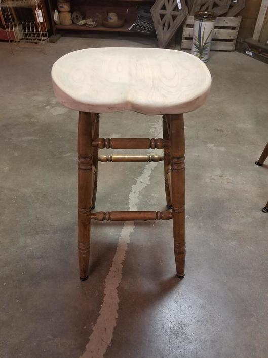 Solid Wood Stool with Handworked Seat