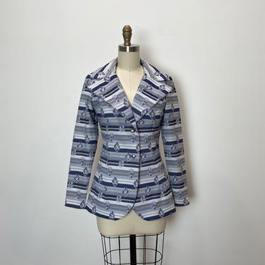 Vintage 1970s Jacket 70s Blazer Blue and Grey by littlestarsvintage