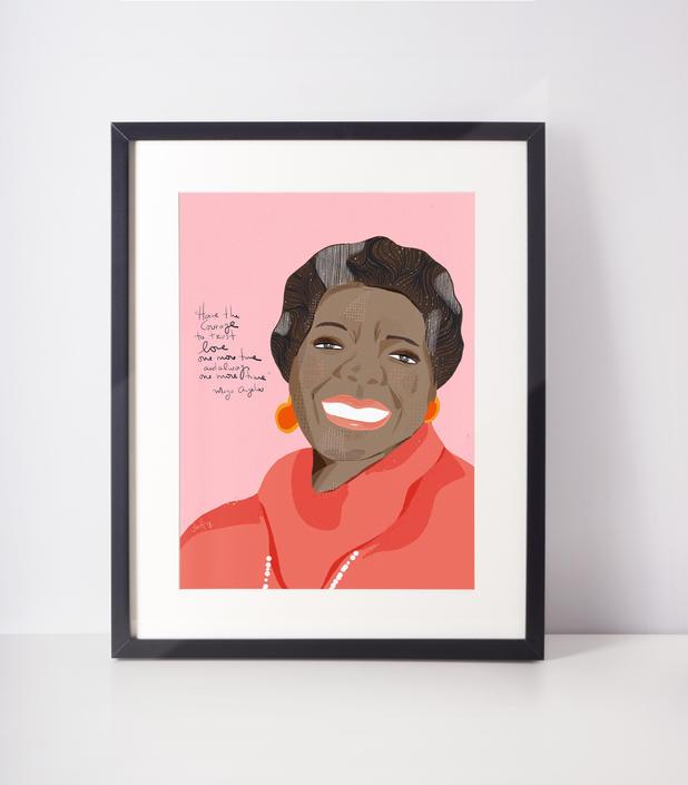 Maya Angelou Portrait-  Iconic Women- Celebrity portrait - Ready to frame art print- pink art- cubicle-office-dorm room- Girl Power by VioletredStudio