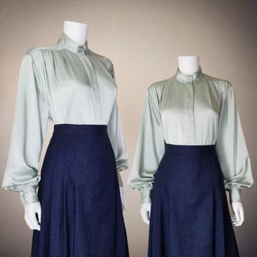 Vintage Bishop Sleeve Blouse, Large / Mint Green Silky Button Blouse / Liquid Satin Cocktail Blouse / Classic Long Sleeve Dress Blouse by SoughtClothier