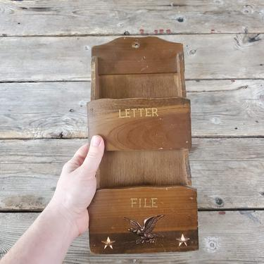 Vintage Wood Hanging Mail Slot Organizer, Rustic Storage Pocket Key Hanger, Americana Cabin Bills Letters Holder Catchall, Wall Hanging by forestfathers