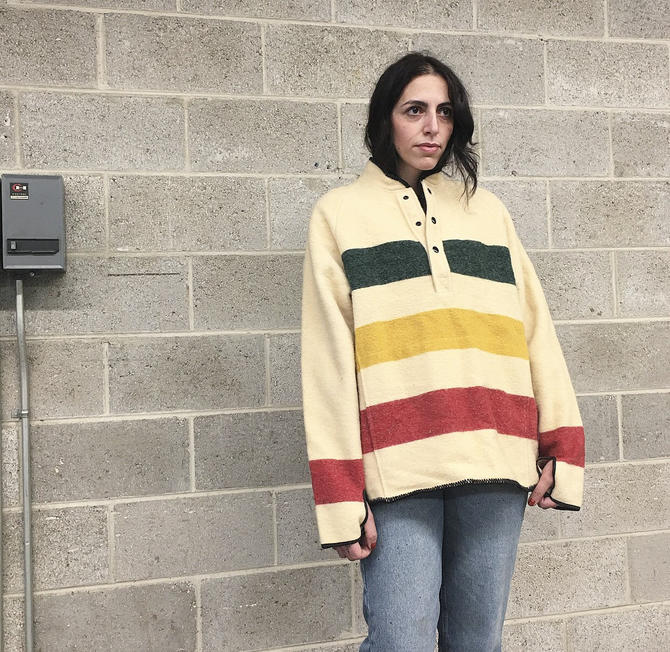 Vintage Woolrich Jacket Retro 1980s Hudson Bay + Pullover + Size Large + Classic + Wool + Cream + Green + Yellow + Red + Unisex Appare8 by RetrospectVintage215