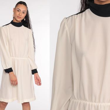70s Midi Dress Cream Puff Sleeve Dress 80s Secretary Dress Mock Neck Dress Long Sleeve 1970s Vintage Plain Medium Large by ShopExile