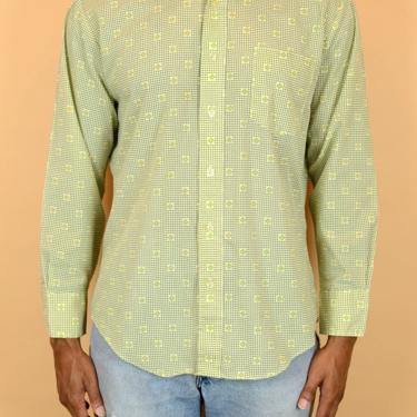 Vintage 70s Green Yellow Patterned Long Sleeve Button Down Shirt 60s Medium Large by MAWSUPPLY
