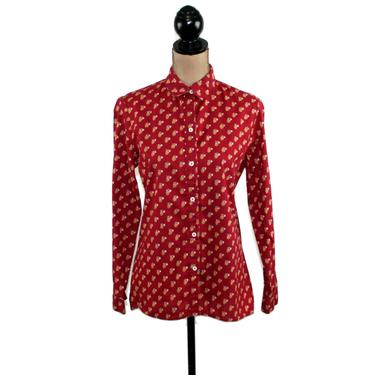 70s Cotton Floral Button Up Shirt, Long Sleeve Collar Blouse Medium, Casual Red Calico Print Top, 1970s Clothes Women Vintage Clothing by MagpieandOtis