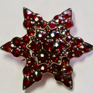 Antique Bohemian Garnet Brooch by eClectricityVintage