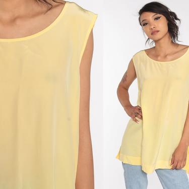 Silk DVF Shirt Yellow Sleeveless Shirt 80s Tank Top Plain Shirt Vintage 80s Blouse 1980s 90s Extra Large xxl 2xl Plus Size by ShopExile