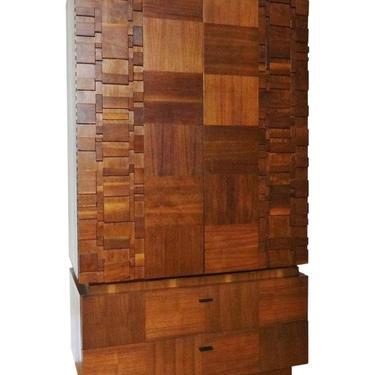 Mid Century Modern Lane Brutalist Walnut Sculpted Cubist Armoire Dresser (PureVintageNYC) by PureVintageNYC