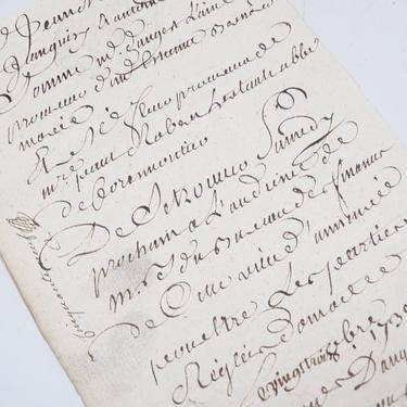 Antique 1738 French Letter Document,  Handwritten Scrip, Vintage Manuscript Paper Ephemera,  France Stamp Seal Document by exploremag