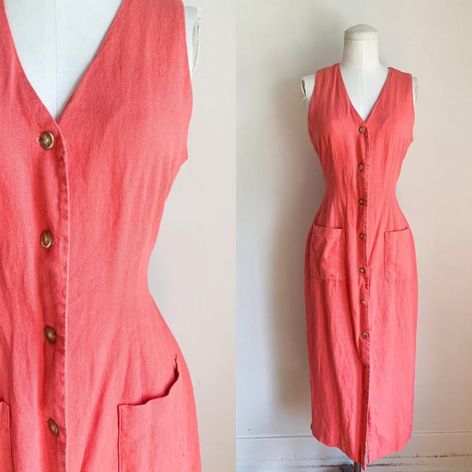 Vintage 1990s Coral Linen Button Front Dress / M by MsTips